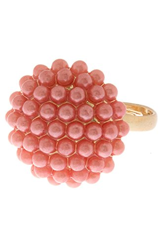 TRENDY FASHION JEWELRY SWEET PEARL COCKTAIL RING BY FASHION DESTINATION   (Pink)