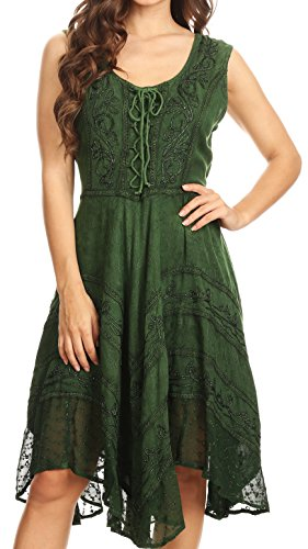 (Sakkas 123 Sundara Stonewashed Rayon Mid Length Dress - Green -)