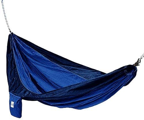 Hammaka 10200-KP P Parachute Silk Lightweight Portable Double Hammock, Light Blue Dark Blue