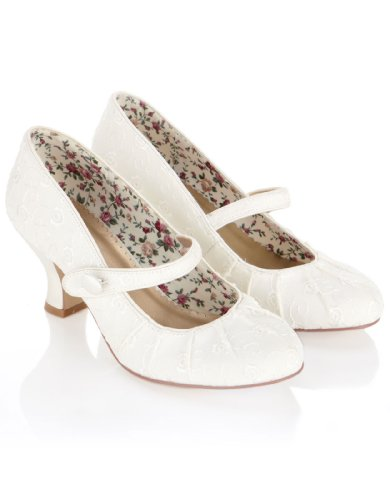 Monsoon Womens Annabelle Vintage Embroidered Bridal Court Size US 8 Shoe White