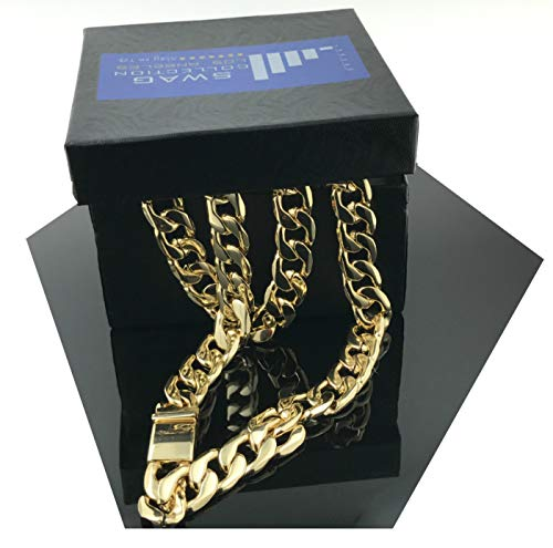 (Gold Chain Necklace 11MM 14K Diamond Cut Smooth Cuban Link with a Warranty of A Lifetime USA Made! (27))