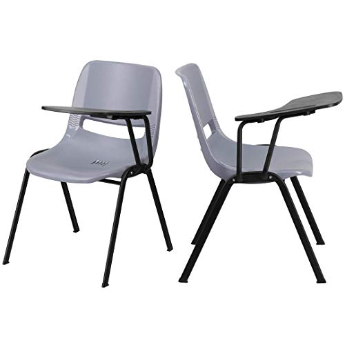 KLS14 Contemporary Multipurpose Tablet Arm Chair Commercial Grade Material Durable Plastic Seat Ergonomically Contoured Design School Office Home Furniture - Set of 2 Grey #2188