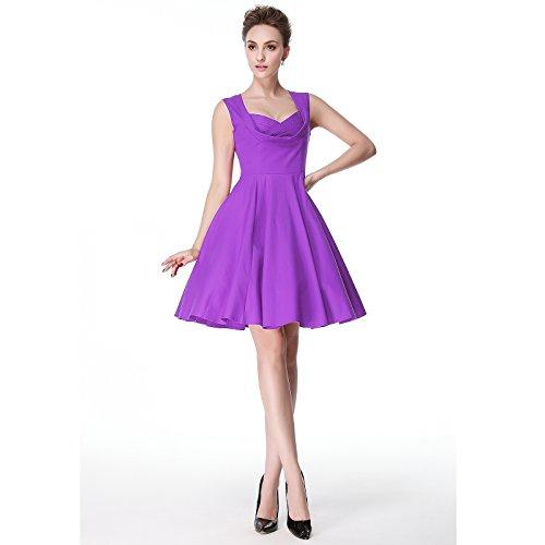 [Heroecol Women's Wrap V Neck Sleeveless Vintage 50s 60s Swing Style Cotton Dresses Purple S] (1960s Vintage Halloween Costumes)