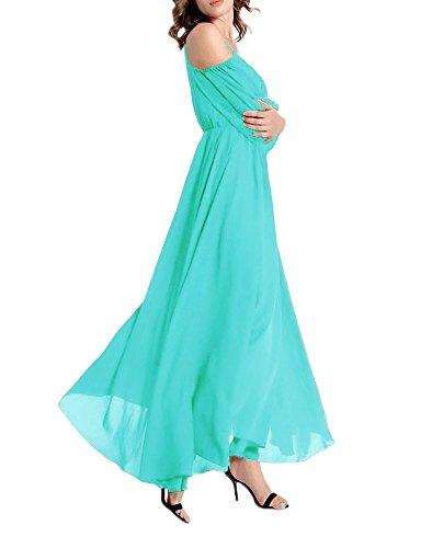 Maxi Robes Menthe Afibi Dcontracte Mousseline Off Femmes Longue Soir Shoulder Robe 0qwAzv0