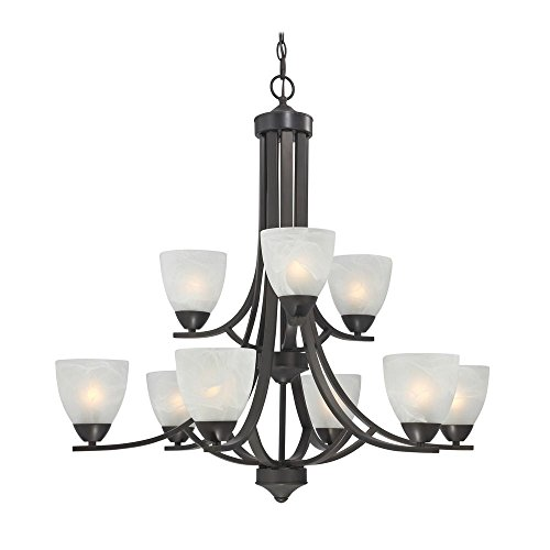 Modern Bronze Finish Chandelier with 9- Lights