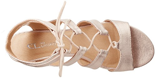 Cl Par Chinese Laundry Womens Plus Wedge Pompe Sandale Rose Lézard Or
