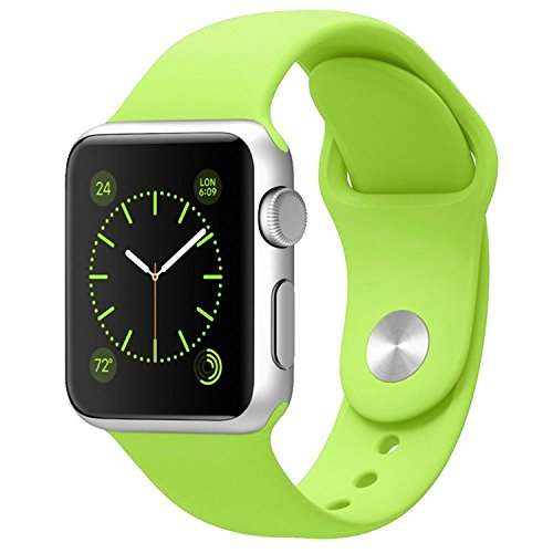 Yearscase 42MM Soft Silicone Sport Replacement Band for Apple Watch Series 1 2, M/L Size (Green)
