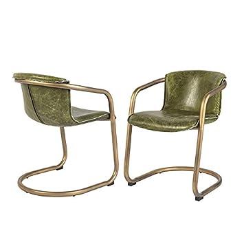 Qazqa - Set de 2 sillas Vintage Cuero Verde Oliva Envejecido ...