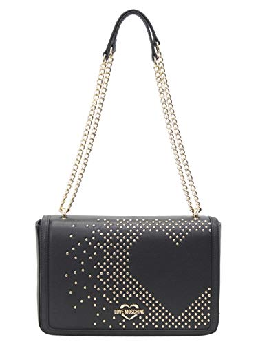 LOVE Moschino Women's Studded Heart Shoulder Bag Black One Size (Flap Over Studded Fold)