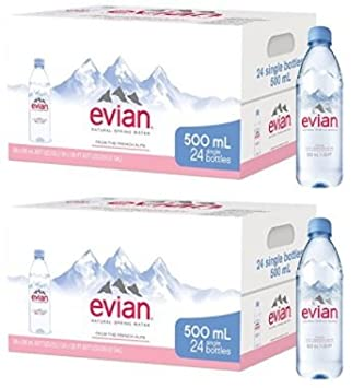Evian Natural Spring Water, One Case of 24 Individual 500 ml ...