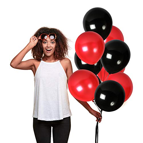Cherry Red Black Latex Balloons 12 Inch Pack of 100 Party Supplies for Birthday Wedding Bridal Shower Anniversary Graduation Party Supplies