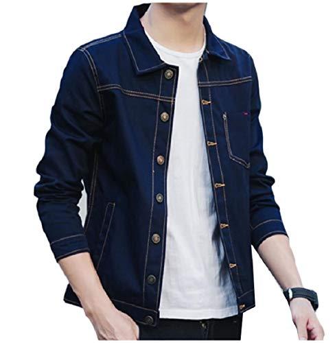 Outwear Di giù Mens Tasca Navy Girano Jeans Soft Pulsante Giacca Blu Della Xinheo Comfort 11PYq