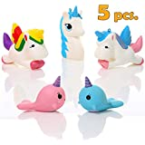 Magical Unicorn Squishies Pack of 5 pcs. Rainbow Scented Jumbo Set Slow Rising Stress Reliever Toy for Kids and Adults