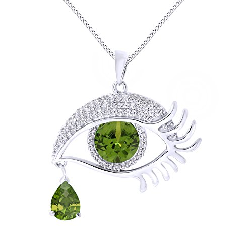 Jewel Zone US Angel Eye Teardrop Simulated Peridot Pendant Necklace In 14K White Gold Over Sterling Silver