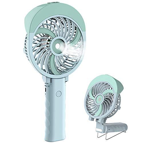 Handheld Misting Fan, HandFan Mini Hand Fan/Small Desk Fan Folding Change USB/Rechargeable Battery Operated Electric Fan Portable Cooling Fan Personal Spray Fan with Cooling Humidifier/Mister/3 Speeds