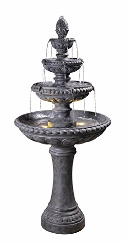 Kenroy Home 51030ZC Tucson Outdoor Tiered Fountain with Lights, 66 Inch Height, Zinc Finish