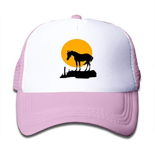 Sunset Moon Horse Mesh Cap Baseball Trucker Hats Adjustable for Boy Pink