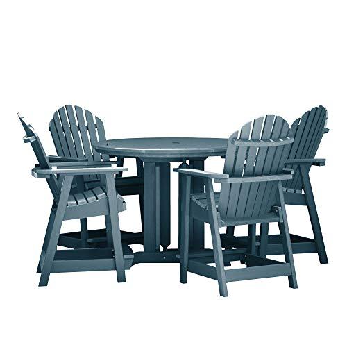 Highwood 5 Piece Hamilton Round Counter Height Dining Set, Nantucket Blue