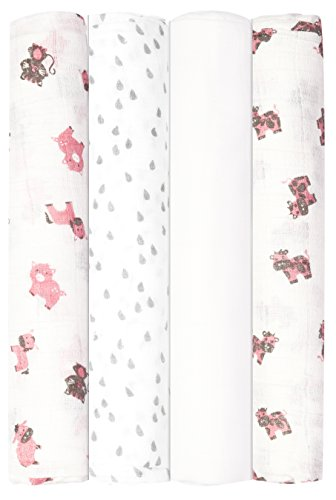 Babykin Organic Cotton Muslin Swaddle Blankets, Pink Farm Animals, 4 Piece Pack