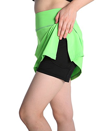Skirt Skort Shirt - Annjoli Womens Running Skorts Golf Tennis Workout Skirt (M, Lawn Green)