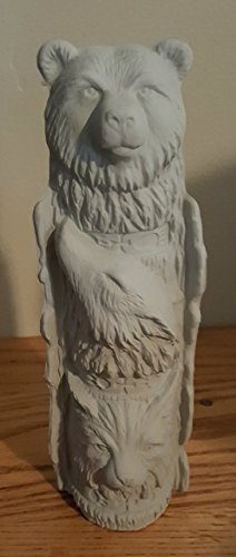 Native American Totem Three Animals unpainted ceramic bisque ready to be painted