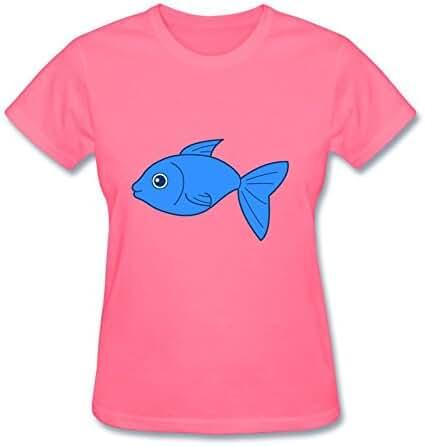 Lastheart Women's Happy Blue Fish Short Sleeve T-Shirt