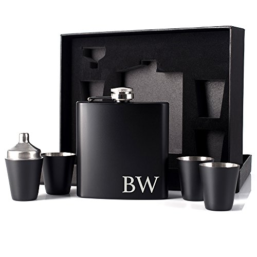 (P Lab Father's Day Gift Customized 6 Piece Flask Set w Gift Box - Engraved 6oz Stainless Steel Hip Flask Custom Personalized Engraved Flask Gift Set Father Grandfather Papa Dad Gift, Matte Black #7 )