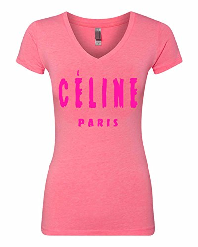 Manta Women's Celine Paris Pink V-Neck T-Shirt (Medium, Pink) (Celine Paris Tee)