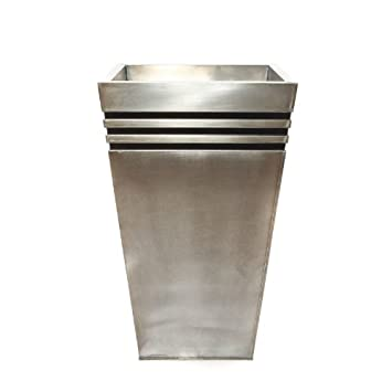 Red Earth Pots Tall Metal Tapered Planter With Brushed Zinc Finish