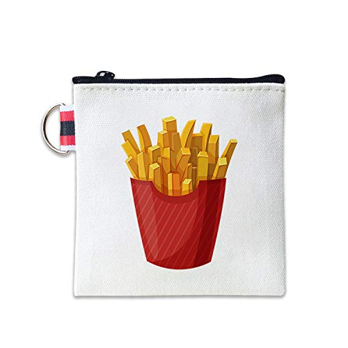 - French Fries Canvas Coin Purse Cash Bag Small Zipper Purse Wallets Mini Money Bag Change Pouch Key Holder Double Sides Printing