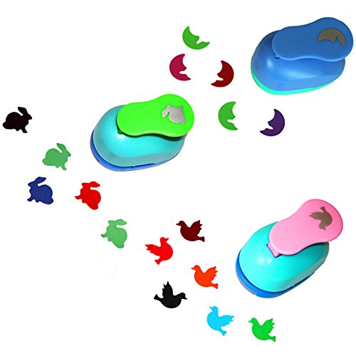 - CADY Hole Puncher 1 Inch Paper Punch, (3 Pack Pigeons, Rabbits, Moon - Personalized Paper Craft Punchers Shapes Set - for Scrapbook Engraving Kids Artwork - Greeting Card Making DIY Crafts