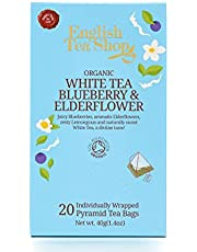 English Tea Shop Organic White Tea Blueberry and Elderflower, Pyramid Sachets, 40g