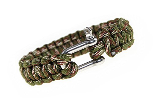 (DreamMarker Happiness Jewelry Nylon Paracord Double Rope Sailing Bracelet With Nautical Stainless Steel Anchor Shackle Clasp 9 Inches (Army Green))