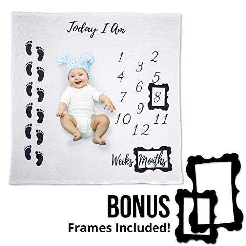 Photograph Your Babys Most Precious Moments - The Softest Unisex Baby Monthly Milestone Blanket - Perfect Gender Neutral Baby Shower Gift (48x48)