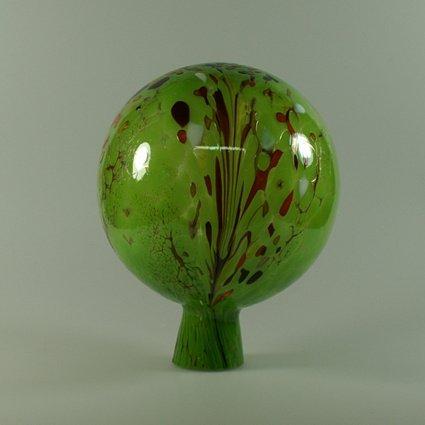 Decorative Garden Ball with Granulate Green D 15cm Mouth-Blown Handmade Original Lauscha Glass Lauschaer Glas 13GK15_02