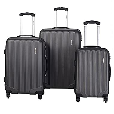 Goplus® GLOBALWAY 3 Pcs Luggage Travel Set Bag ABS Trolley Suitcase w/TSA Lock Gray