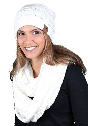 (aHS-6020a-25 Regular Slouchy Beanie Matching Scarf Set Bundle - Ivory (Solid))