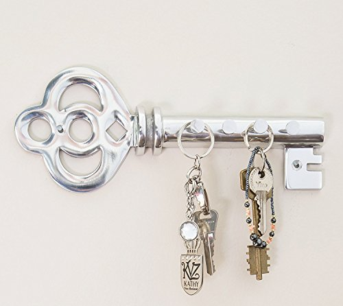 Decorative Wall Mounted Key Holder - Multiple Key Hooks Rack - Hand Cast Aluminum - Modern Theme - Polished Finish - with Screws and Anchors - By (Entry Hall Mirror)