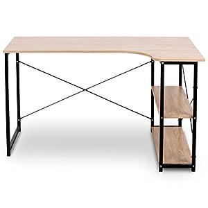 eSituro SCD0035 Table de Bureau Bureau d'ordinateur Table de Travail avec étagère en Bois et Acier,Chêne Clair