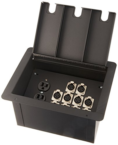 Elite Core Recessed Floor Pocket Stage Box With 10 XLR Female Connectors + Duplex AC Outlet by Elite Core