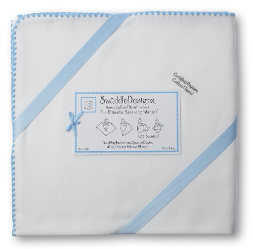 (Organic Ultimate Receiving Blanket® in Ivory Color: Bright Blue)