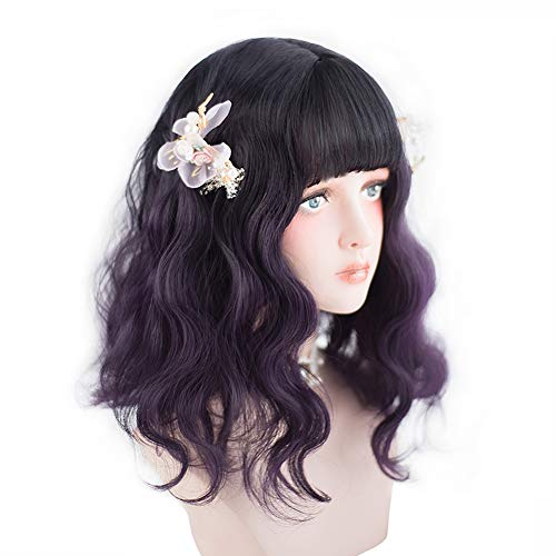 aiyaya Long Wavy Dark Purple Wig - Purple Ombre Wig Bangs For Women with Dark Roots, Synthetic Hair Lolita Wig with Wig Cap, Good Choice For Cosplay Costumes, Halloween, Parties and Daily]()