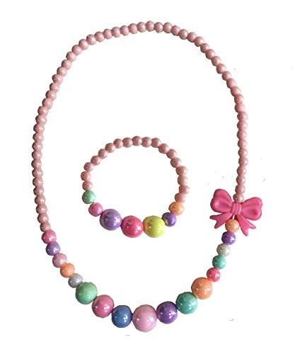 Amkaka Kids Jewelry Colorful Stretch Necklace Bracelet Set for Little Girls, Toddlers, Children