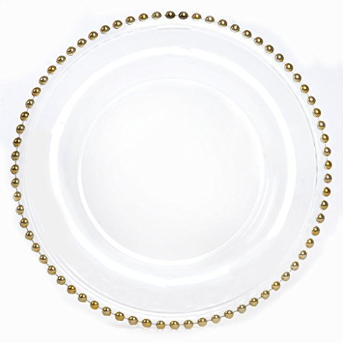 BalsaCircle 8 pcs 12-Inch Clear Glass Charger Plates with Gold Beaded Rim Dinner Chargers Wedding Party Supplies Holidays (Gold Beaded Dinner)