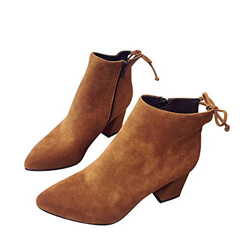 Toe Back Brown Mid Fleece Women's Fashion fereshte Boots Pointed Lined Heels Ladies Casual Ankle Suede Lace COwFCXBnq