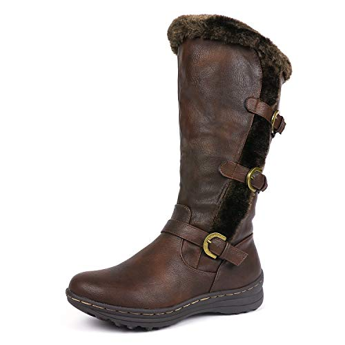 Buckle Triple - DREAM PAIRS Minx Women's Winter Fully Fur Lined Triple Buckle Ruched Snow Knee High Boots Brown PU Size 9.5