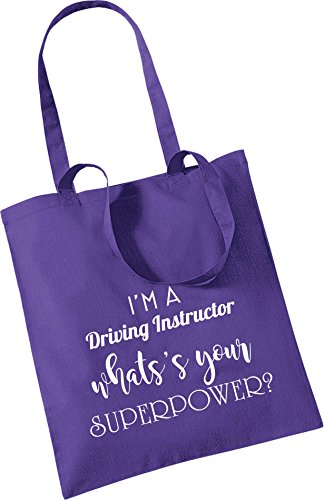 Christmas YOUR INSTRUCTOR DRIVING Keepsake WHAT'S A Gift Cotton Bag Bag Tote SUPEROWER Purple Present Xmas I'M SqBHwnxFPF