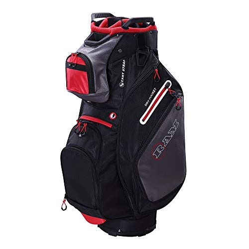 (RAM Golf FX Deluxe Golf Cart Bag with 14 Way Full Length Dividers Black/Grey/Red)