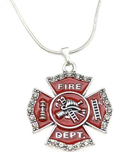 FIREFIGHTER Red Maltese Cross Necklace.Crystal Rhinestone Border Edges 18