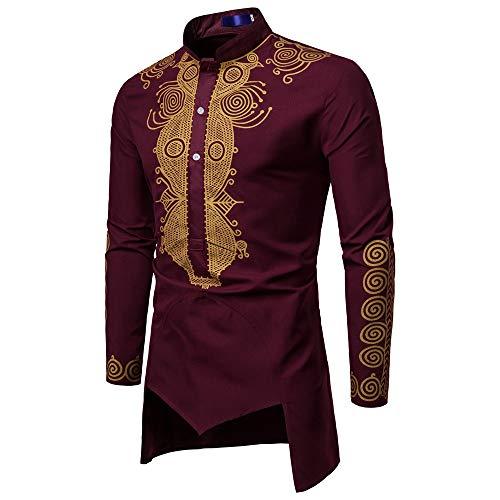 (NREALY Shirt Mens Autumn Winter Luxury African Print Long Sleeve Dashiki Shirt Top Undershirt(XL, Red))